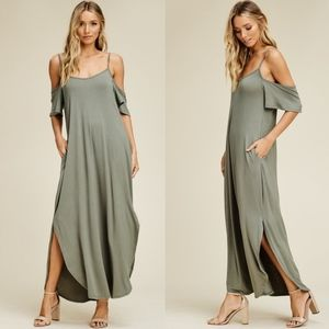 RILEY Cold Shoulder Maxi Dress - LIGHT OLIVE